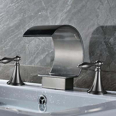 Waterfall Brushed Nickel Bathroom Faucet Dual Handle
