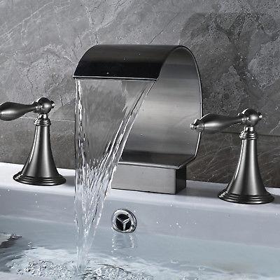 Waterfall Nickel Widespread Bathroom Basin Dual Handle Mixer Tap