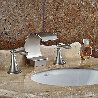 Waterfall Brushed Widespread Bathroom Basin Handle Mixer Tap