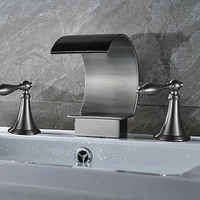 Waterfall Nickel Widespread Bathroom Basin Handle Mixer Tap