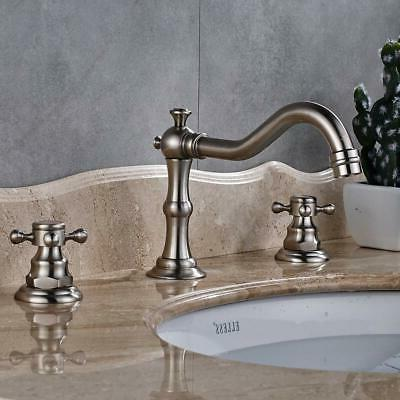 waterfall brushed nickel widespread bathroom basin faucet