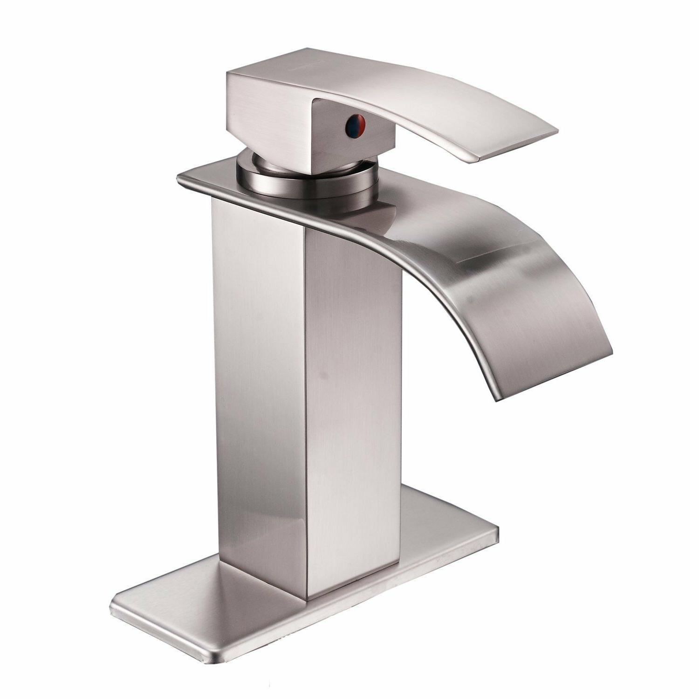 Brushed Nickel Waterfall Spout Single Handle Bathroom Sink F