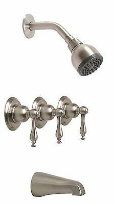WELLINGTON 3-HANDLE CERAMIC DISC TUB AND SHOWER FAUCET SET B