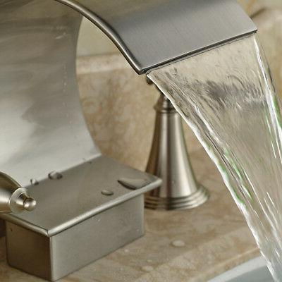 "Widespread 8"" Brushed Bathroom Faucet Mixer Tap Handles Mount"