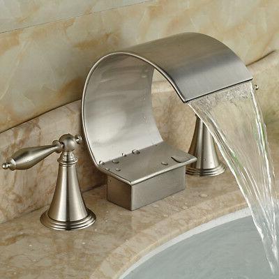 """Widespread 8"""" Brushed Bathroom Sink Mixer Tap 2 Mount"""