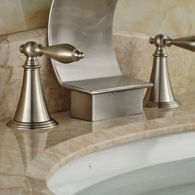 Widespread Brushed Bathroom Tap Deck Mount
