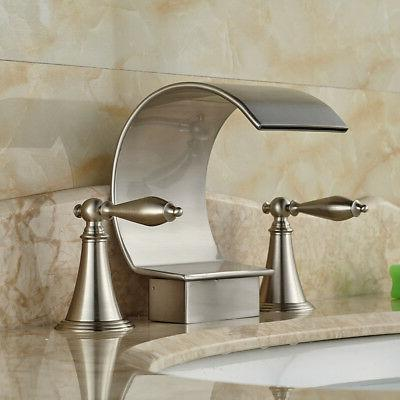 Widespread Brushed Bathroom Faucet Tap 2 Mount