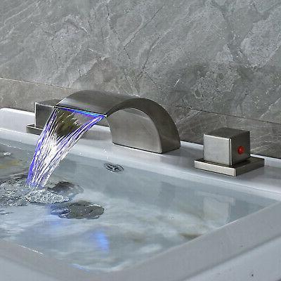 Widespread Nickel Waterfall Basin Tub Sink Mixer