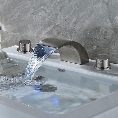Widespread Nickel LED Waterfall Bathroom Tub Mixer Tap