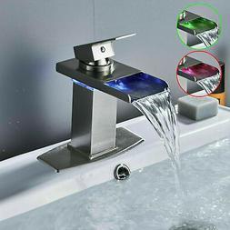 LED Waterfall Oil Rubbed Bronze Single Handle Bathroom Sink