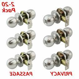 LOT Brushed Nickel Door Knobs Entry Handles Locks Privacy/Pa