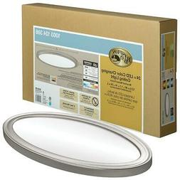 Hampton Bay Low Profile 24 in. Oval Brushed Nickel LED Flush