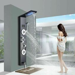 LED Brushed Nickel Shower Panel Tower Waterfall&Rain Massage