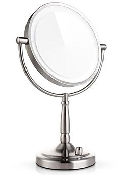 Miusco 7X Magnifying Lighted Makeup Mirror, 8 Inch Two Sided