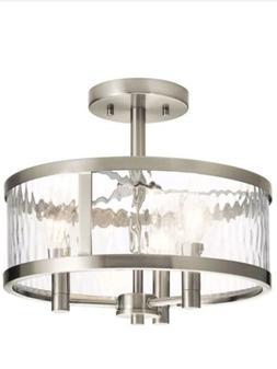 Kichler Marita 13-in W Brushed nickel Clear Glass Semi-Flush