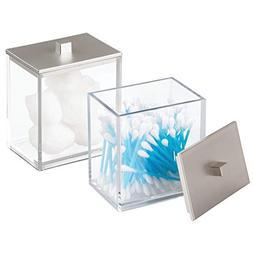 mDesign Modern Square Bathroom Vanity Countertop Storage Org