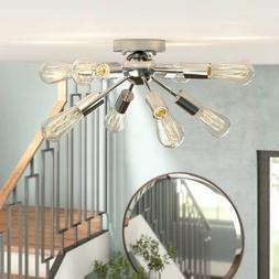 Metal Sputnik Chandelier 8 Lights Semi Flush Mount Ceiling L