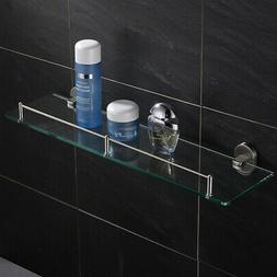 Modern Brushed Nickel Glass Bathroom Shelf Stainless Steel O