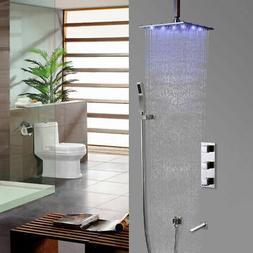 Modern LED Bath Rain Shower System with Hand Shower & Tub Sp