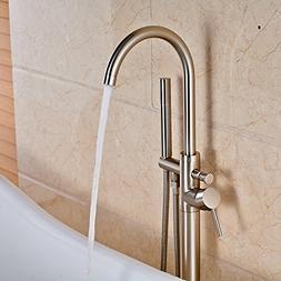 Votamuta Modern Nickel Brushed Free Standing Bathtub Shower