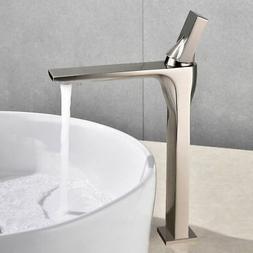 Modern One Hole 1-Handle Angular Bathroom Vessel Sink Faucet