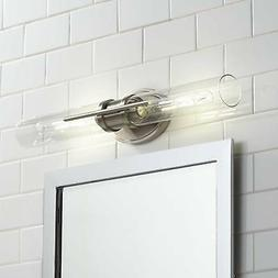 "Modern Wall Light LED Brushed Nickel 24"" 2-Light Fixture Bat"