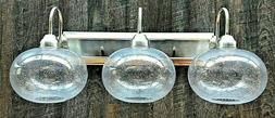 New 3 light Brushed Nickel vanity bathroom light with clear