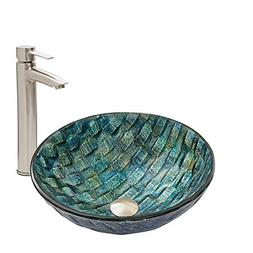 VIGO Oceania Glass Vessel Bathroom Sink and Shadow Vessel Fa