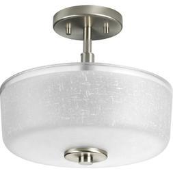 Progress Lighting P2851-09 2-Light Semi-Flush with White Lin