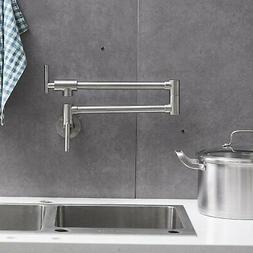 Pot Filler Wall Mount Kitchen Faucet Brushed Nickel 2 Handle