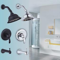 Rainfall Shower Faucet Kit Shower Head Tub Spout Diverter Va