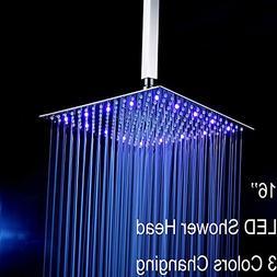 "Fyeer 16"" LED Rainfall Shower Head Square, Ultra-thin Luxury"