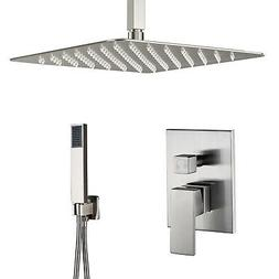 """Esnbia 12""""Brushed Nickel Shower Faucet Wall Mount Square Sho"""
