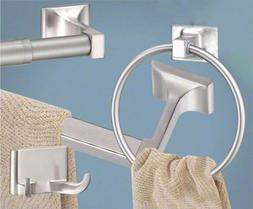 Satin / Brushed Nickel 4 Pc Bathroom Hardware Accessory Set