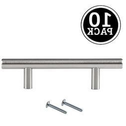 Satin Nickel Kitchen Cabinet Pulls - 3 Inch Bar - 10 Pack of
