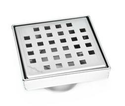 SereneDrains Square Shower Drain Stainless 4 Inch Steel Squa