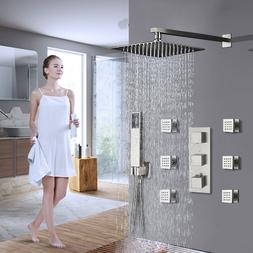 Shower Faucet Combo Set Rainfall Shower Head Systems Brushed