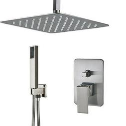Shower Faucet System Set Brushed Nickel 16 inch Rainfall Sho