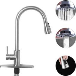 single handle brushed nickel kitchen faucet sink