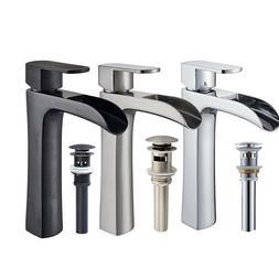 Tall Waterfall Spout Single Lever Bathroom Vessel Sink Fauce
