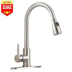 Single Level Handle High Arc Brushed Nickel Pull out Kitchen
