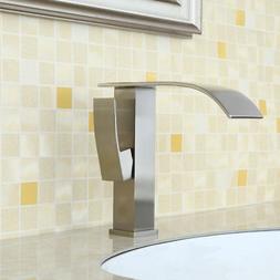 Square Waterfall Taps 1-Handle Bathroom Basin Sink Mixer Fau