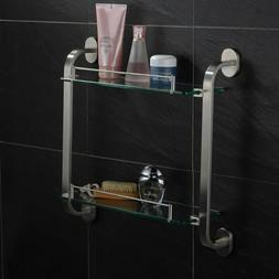 Stainless Steel Brushed Nickel Double Glass Shower Shelf Mod