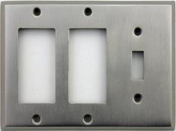 Classic Accents Stamped Steel Satin Nickel Three Gang Wall P