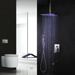 Steel Brushed Nickel LED Bathtub Rain Shower System & Tub Sp