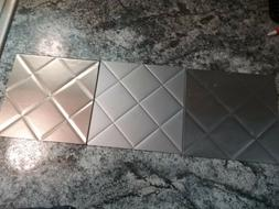 "Three 6""X6"" Fasade Backsplash Samples! - Brushed Nickel, Alu"