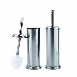 Toilet Brush and Canister Metal Stem Brushed Nickel Finish 2