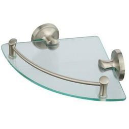 "Delta 8"" Wall Mount Glass Corner Shelf - Brushed Nickel - EX"