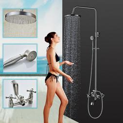 Wall Mount Brushed Nickel 8-Inch Shower Head Faucet Tub Mixe