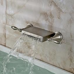 Oulantron Wall Mounted 3 Holes Bathtub Mixer Faucet Dual Kno